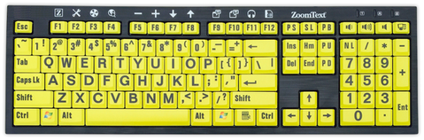 ZoomText Keyboard Black on Yellow