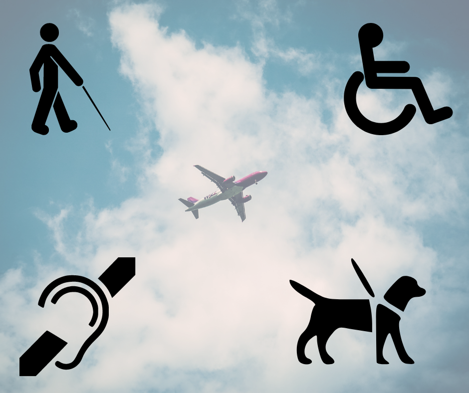 background is of a plane in the sky. There are four icons in each corner - a person using a long cane, a person using a wheelchair, an icon for looped audio system and a guide dog.