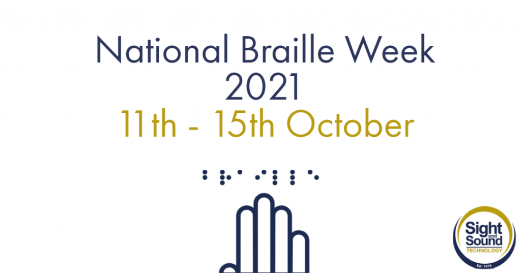 Text: National Braille Week 2021. 11-15 October. Icon is of a hand reading Braille.
